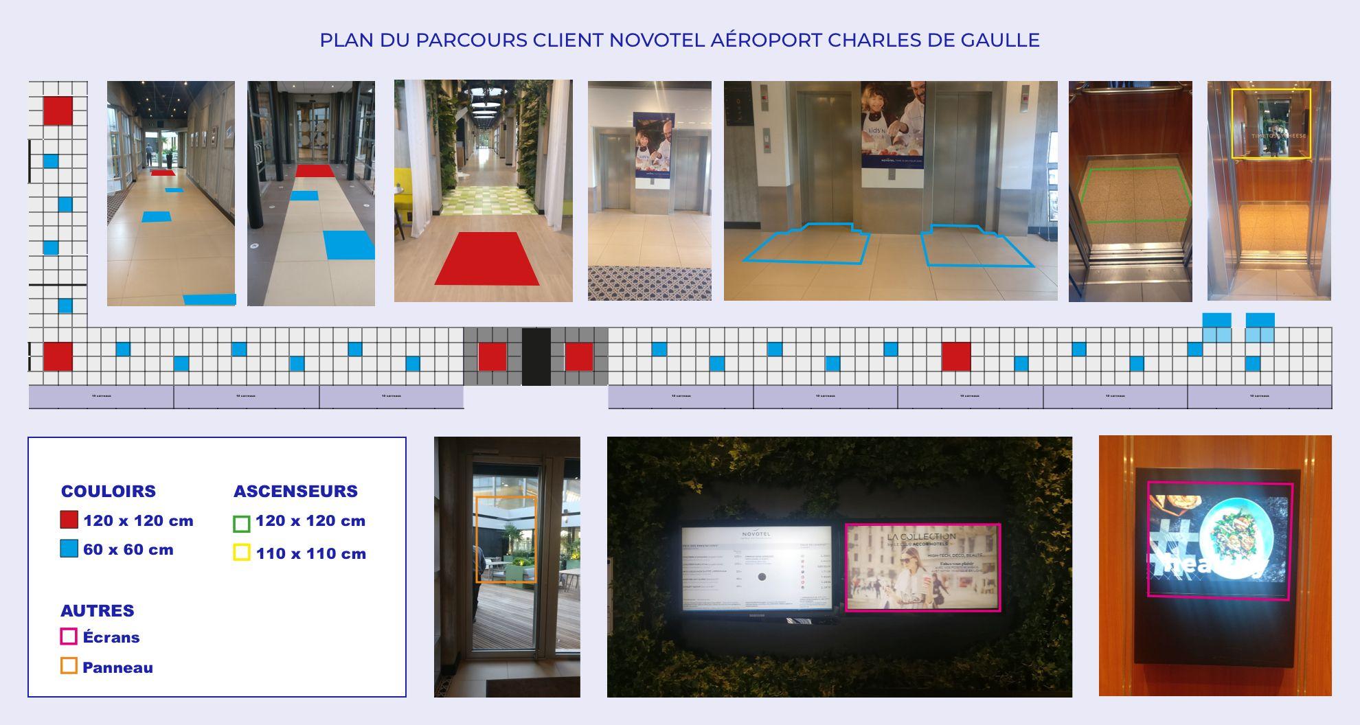 Novotel de l'aéroport de Charles-de-Gaulle : Plan du parcours client et de la signalétique par Candice Herbreteau