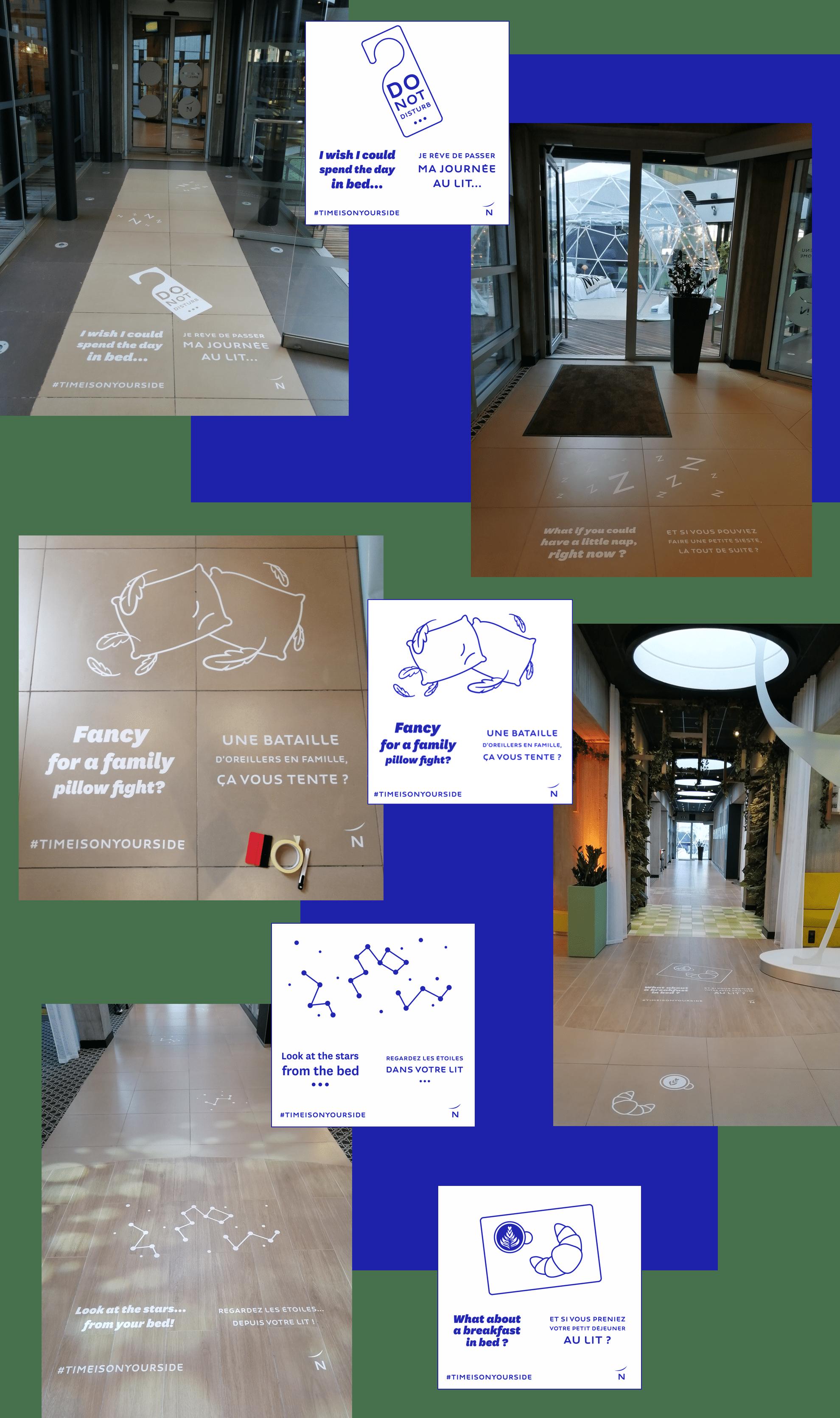 Novotel de l'aéroport de Charles-de-Gaulle : Parcours Client Signalétique et Marquage au sol et dans les ascenseurs par Candice Herbreteau